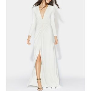 Halston Ruched V-Neck long sleeve gown